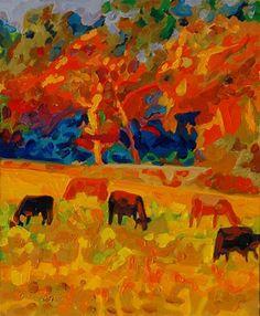 """Five Texas Cows At Sunset oil painting by Bertram Poole"" - Original Fine Art for Sale - � Bertram Poole"