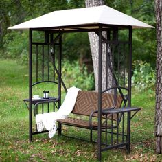 2-Person Natural Brown Resin Wicker Gazebo Canopy Porch Swing Glider - Quality House