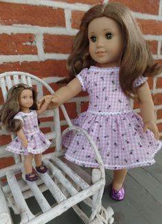 American Girl doll purple checked school dress, shoes, and slip
