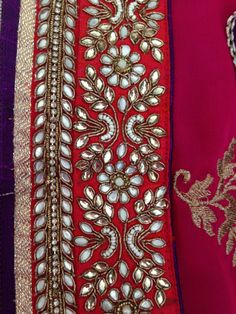 Zardozi Embroidery, Hand Embroidery Dress, Kurti Embroidery Design, Border Embroidery, Embroidery Works, Hand Embroidery Designs, Embroidery Stitches, Embroidery Patterns, Hand Work Design