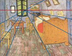 Vincent van Gogh perspective - One point perspective / Student Art Guide Vincent Van Gogh, Perspective 1 Point, 1 Point Perspective Drawing, Perspective Artists, Student Art Guide, Desenhos Van Gogh, 6th Grade Art, High School Art, Middle School