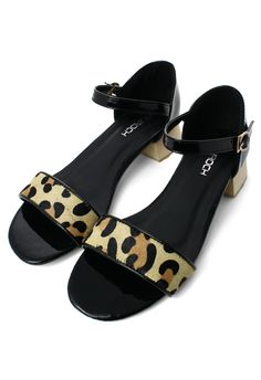 Leopard Strappy Heeled Sandals in Black
