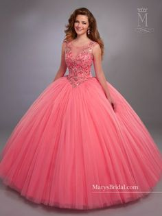 Designer Quinceanera Dresses 2017 Mary's with Illusion Scoop Neck and Basque Waistline Pink Sweet 16 Dress with Zipper Back Custom Made Ball Gown Dresses, 15 Dresses, Evening Dresses, Fashion Dresses, Girls Dresses, Sweet 16 Dresses, Pretty Dresses, Vestidos Color Coral, Pretty Quinceanera Dresses