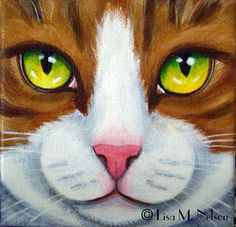 Original Tabby Cat Face Macro Portrait Acrylic Painting by ArtbyLisaMNelson on Etsy