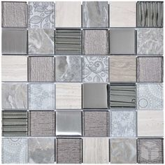 2x2 Grey Element Square Pattern Glass, Marble and Metal Mosaic Tile #grey_element_marble_tile #square_pattern_mosaic_tile