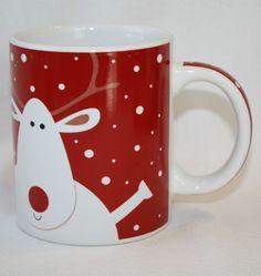 Reindeer Coffee Mug Red White Snowflakes Mayfair & Jackson Ceramic Glazed VGC http://stores.ebay.com/The-Spicy-Senior?_rdc=1