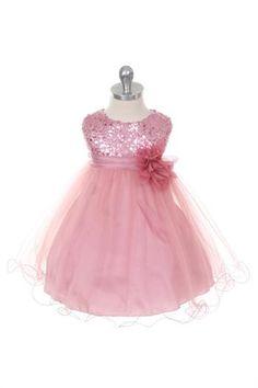 Prachtige roze feestjurk met wijde tule rokken en lovertjes op het lijfje.