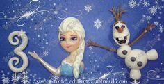 FROZEN - Princesa Elsa (aplique para el lateral de torta - Olaf (Adorno para torta) y número.(edad de la cumpleañera)