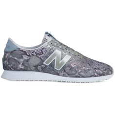 New Balance Snake Print 420 Sneakers ($100) ❤ liked on Polyvore featuring shoes, sneakers, grey, snakeskin shoes, gray shoes, lace up shoes, retro shoes and new balance shoes