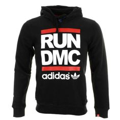 adidas run dmc | Adidas Originals Run DMC Hoodie Jumper Black