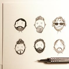 Sketching bearded faces