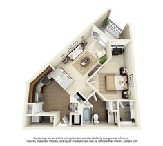 Hampton Floor Plan: 1 bd / 1 ba - 760 Sq. Ft.