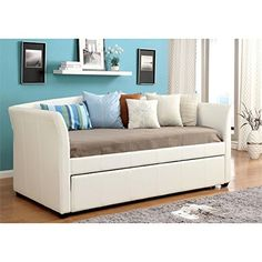 online shopping for Furniture America Alisa Modern Leatherette Daybed Roll-Out Trundle, White from top store. See new offer for Furniture America Alisa Modern Leatherette Daybed Roll-Out Trundle, White Sofa Layout, White Daybed With Trundle, Trundle Daybed, Platform Daybed, Sofas, Leather Daybed, Upholstered Daybed, Bed Sofa, Couch