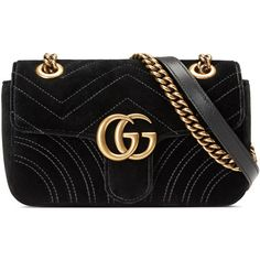 Gucci GG Marmont 2.0 Mini Quilted Velvet Crossbody Bag (739.700 CRC) ❤ liked on Polyvore featuring bags, handbags, shoulder bags, gucci, black, mini purse, chain shoulder bag, quilted chain strap shoulder bag, gucci crossbody and cross-body handbag