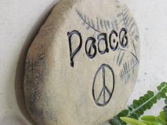 Peace stone - garden sign - durable quality terra cotta - engraved brick - Peace sign, ferns