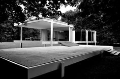 The Farnsworth House was designed and constructed by Ludwig Mies van der Rohe between 1945-51. It is a one-room weekend retreat in a once-rural setting, located 55 miles (89 km) southwest of Chicago's downtown on a 60-acre (24 ha) estate site, adjoining the Fox River, south of the city of Plano, Illinois.