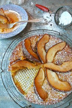 """A Seasonal, Southern Red Bartlett Pear-Almond Cake (with Grits & Molasses)   """"food on fifth"""""""