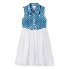 Girls' Eyelet Chiffon Dress with Chambray Bodice