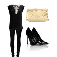 all black outfit with statement necklace