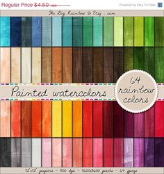 SALE 64 watercolor digital paper painted digital by TheDigiRainbow