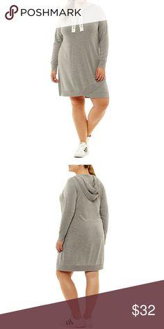 City Streets Pretty Perfect Sweatshirt Dress 2X BRAND NEW! Gray sweatshirt dress City Streets Dresses