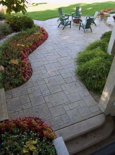 Landscape ideas concrete stamped patio flooring contemporary patio design ideas - All For Garden Concrete Patio Designs, Backyard Patio Designs, Backyard Landscaping, Landscaping Ideas, Patio Ideas, Backyard Ideas, Stamped Concrete Patios, Outdoor Patio Flooring Ideas, Steep Backyard