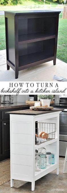 SUPER CLEVER! Turn an old bookcase into a kitchen island! Find the tutorial here: http://www.littleglassjar.com/2017/01/24/bookshelf-kitchen-island/