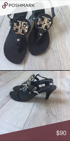 Like New Tory Burch Holly Kitten Heel Sandals Worn Once excellent condition.  Pad strips have been added to underside but can be removed. Tory Burch Shoes Sandals
