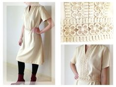 Vintage Cream Lace Trim Dress 1970s Knee by EchoesInTimeVintage