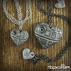 Death Star Inspired Heart Necklace  2 sizes by rapscalliondesign, $20.00