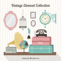 Collection of luggage and old elements in flat design Free Vector