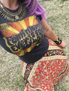 Dazey LA Feminism is for everybody graphic tee paired with Spell and the Gypsy Collective Lolita Festival collection skirt in Campfire. #antiquenecklace #spellfestivalstyle #festivalstyle #melissastees #spelldesigns #lolitaskirt #bohochic #fawninginlove #cattleskullbracelet #custommade #etsy #dlitefultrends #fashionblogger #cr8tivewanderlust #fashioninfluencer #bloggerstyle #purplehair #mystyle