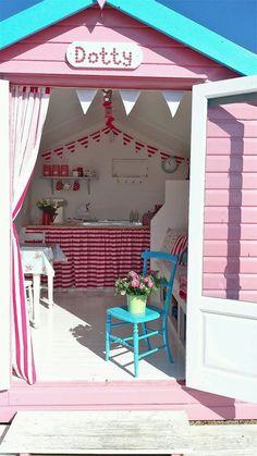 Beach Hut Shed, Beach Hut Decor, Beach House, Beach Hut Interior, Summer House Interiors, Shed Decor, Craft Shed, Wendy House, Beach Cabana