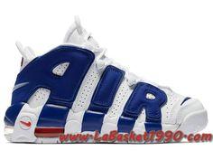 f33bc34280 Nike Air More Uptempo 921948-101 Chaussures de BasketBall Pas Cher Pour  Homme Blanc Bleu