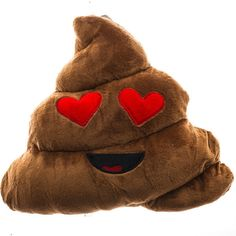 EMOJI POOP HEART EYES PILLOW ($25) ❤ liked on Polyvore featuring home, home decor, throw pillows, heart home decor, heart throw pillow, polyester throw pillows, plush throw pillows and grapes home decor