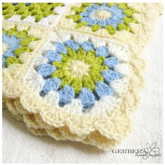 "Crochet baby afghan Blanket - apple green and blue color for baby 43"". $90.00, via Etsy."
