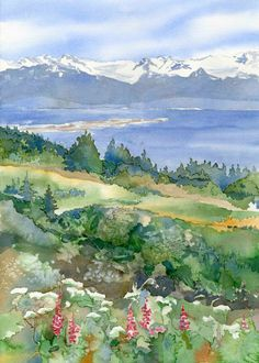 This is a digital print from an original watercolor featuring Kachemak Bay in Homer with fireweed and cow parsnip in the foreground. Watercolor Scenery, Watercolor Painting Techniques, Watercolor Projects, Watercolor Landscape Paintings, Watercolor Trees, Watercolor Artists, Watercolour Painting, Landscape Art, Art Paintings