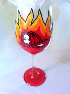 Firefighters Wife 20 oz Hand Painted Wine Glass by SassySippings, $15.00