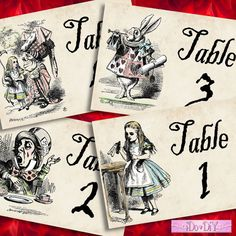 Alice in Wonderland Table Number Signs Tables 1 - 10 Digital DIY Signs Printable Download  Do it Yourself 012