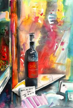 Vibrant watercolour painting in expressionist impressionist style of a bottle of Alabastro red wine seen in a wine shop window in Tuscany in Italy Original Image, Original Art, Reggae Art, Italy Painting, Wine Art, Watercolor And Ink, Abstract Expressionism, Art For Sale, Still Life