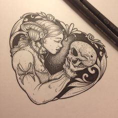 Dead maidens blog logo for @lucyctalbot she's kindly let me make prints of this so look out for those in the new year. #dead #maiden #blog #logo #skull #filigree #death #heart #illustration #drawing #design #stipple #black #ink #art