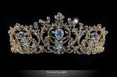Lucia Victoria Statement Tiara | Gold | Swarovski Crystal - Beloved Sparkles  - 1