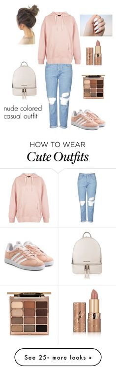 """""""Cute casual outfit in peach"""" by axmarieee on Polyvore featuring Topshop, New Look, adidas Originals, MICHAEL Michael Kors, Stila and tarte"""