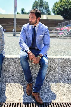 Jeans & Suit jacket style brown leather shoes