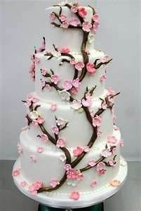 The Cherry Blossom is a metaphor for life and symoblises female beauty. Cherry blossom cake designs come in all shapes and sizes. Feast your eyes on these beautiful Cherry Blossom wedding cakes. Gorgeous Cakes, Pretty Cakes, Cute Cakes, Yummy Cakes, Cherry Blossom Cake, Cherry Blossom Wedding, Cherry Blossoms, Pink Blossom, Blossom Flower