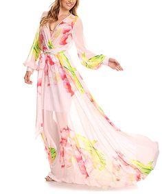 Another great find on #zulily! Light Pink Floral Surplice Tie-Waist Maxi Dress - Plus Too #zulilyfinds