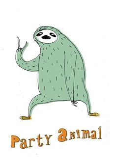 Party animal sloth card by lukaluka on Etsy