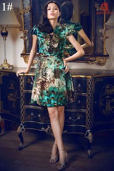High-Tech Silk Made One-Piece Dress, V Neck Line, Short Sleeve, Summer Fashion Real Natural Silk Made