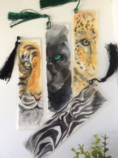Watercolor bookmarks Watercolor painting Wild life animals Gifts for readers…