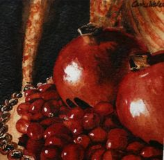 Carrie Waller - Work Zoom: Pomegranates and Cranberries 4 x 4